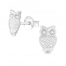 Owl - 925 Sterling Silver Plain Ear Studs A4S38607