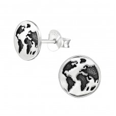 Earth Planet - 925 Sterling Silver Plain Ear Studs A4S38629