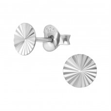 Round - 925 Sterling Silver Plain Ear Studs A4S38642