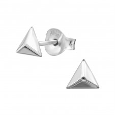 Pyramid - 925 Sterling Silver Plain Ear Studs A4S38653