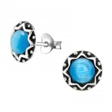 Round - 925 Sterling Silver Plain Ear Studs A4S38680
