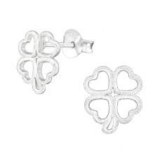 Lucky Clover - 925 Sterling Silver Plain Ear Studs A4S38682
