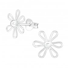 Flower - 925 Sterling Silver Plain Ear Studs A4S38685