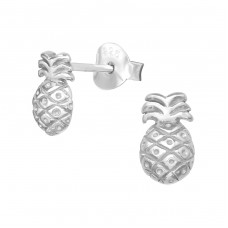 Pineapple - 925 Sterling Silver Plain Ear Studs A4S38760