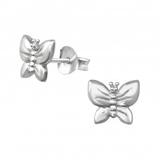 Butterfly - 925 Sterling Silver Plain Ear Studs A4S38877