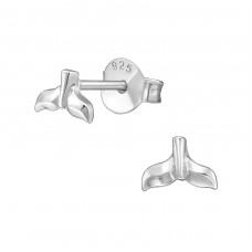 Whale's Tail - 925 Sterling Silver Plain Ear Studs A4S38878