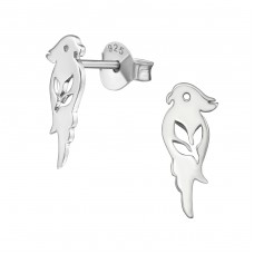 Parrot - 925 Sterling Silver Plain Ear Studs A4S38879