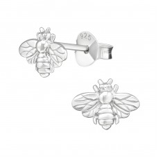 Bee - 925 Sterling Silver Plain Ear Studs A4S38880