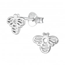 Bee - 925 Sterling Silver Plain Ear Studs A4S38881