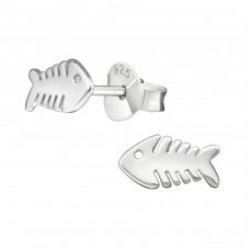 Fishbone - 925 Sterling Silver Plain Ear Studs A4S38883