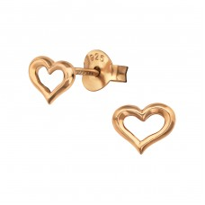 Heart - 925 Sterling Silver Plain Ear Studs A4S38884