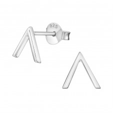 V Shaped - 925 Sterling Silver Plain Ear Studs A4S38886