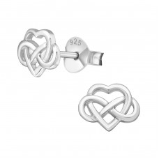Celtic Heart - 925 Sterling Silver Plain Ear Studs A4S38887