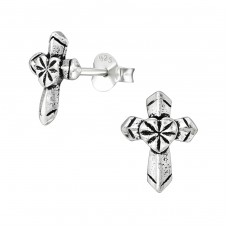 Cross - 925 Sterling Silver Plain Ear Studs A4S38890