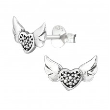 Heart Wing - 925 Sterling Silver Plain Ear Studs A4S38891