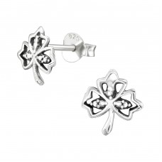 Leaf - 925 Sterling Silver Plain Ear Studs A4S38892