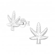 Weed - 925 Sterling Silver Plain Ear Studs A4S38893