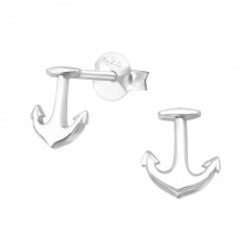 Anchor - 925 Sterling Silver Plain Ear Studs A4S38894