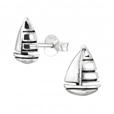 Sailboat - 925 Sterling Silver Plain Ear Studs A4S38895