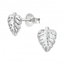 Leaf - 925 Sterling Silver Plain Ear Studs A4S38900