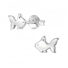 Fish - 925 Sterling Silver Plain Ear Studs A4S38903