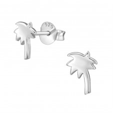 Coconut Tree - 925 Sterling Silver Plain Ear Studs A4S38904