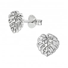 Leaf - 925 Sterling Silver Plain Ear Studs A4S38906