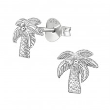 Coconut Tree - 925 Sterling Silver Plain Ear Studs A4S38907