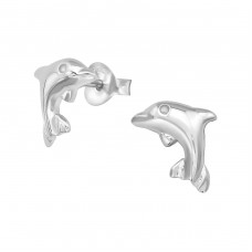 Dolphin - 925 Sterling Silver Plain Ear Studs A4S38908