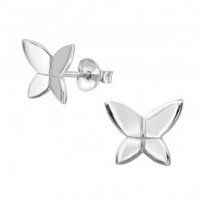 Butterfly - 925 Sterling Silver Plain Ear Studs A4S38909