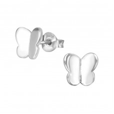 Butterfly - 925 Sterling Silver Plain Ear Studs A4S38911