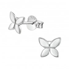 Butterfly - 925 Sterling Silver Plain Ear Studs A4S38916