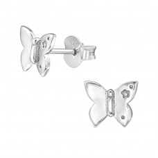 Butterfly - 925 Sterling Silver Plain Ear Studs A4S38917