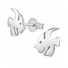 Fish - 925 Sterling Silver Plain Ear Studs A4S38919