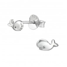Whale - 925 Sterling Silver Plain Ear Studs A4S38920