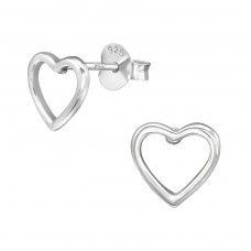 Heart - 925 Sterling Silver Plain Ear Studs A4S38922