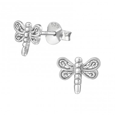 Dragonfly - 925 Sterling Silver Plain Ear Studs A4S38923