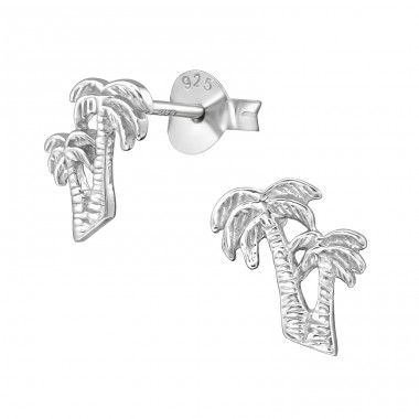 Coconut Tree - 925 Sterling Silver Plain Ear Studs A4S38924