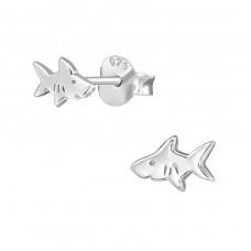 Shark - 925 Sterling Silver Plain Ear Studs A4S38925