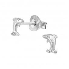 Dolphin - 925 Sterling Silver Plain Ear Studs A4S38926