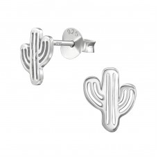 Cactus - 925 Sterling Silver Plain Ear Studs A4S38927