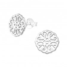Antique - 925 Sterling Silver Plain Ear Studs A4S38928