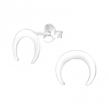 Moon - 925 Sterling Silver Plain Ear Studs A4S38930