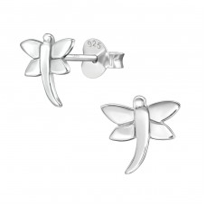 Dragonfly - 925 Sterling Silver Plain Ear Studs A4S38934