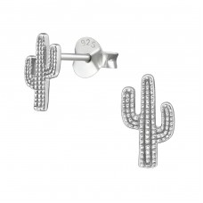 Cactus - 925 Sterling Silver Plain Ear Studs A4S38939