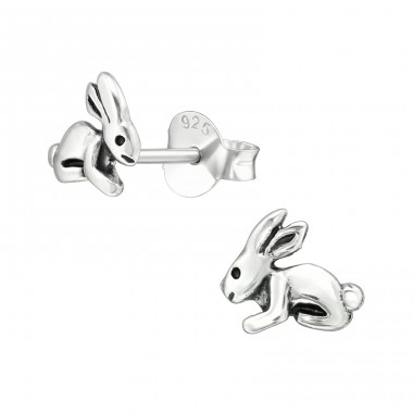 Rabbit - 925 Sterling Silver Plain Ear Studs A4S38953