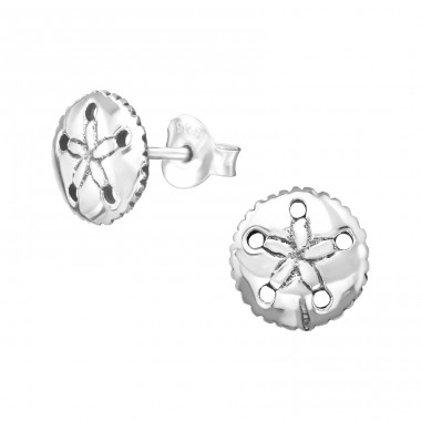 Flower - 925 Sterling Silver Plain Ear Studs A4S38987