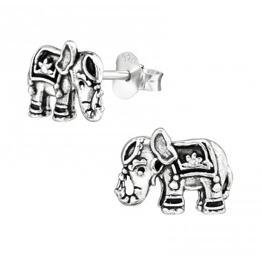 Elephant - 925 Sterling Silver Plain Ear Studs A4S38988