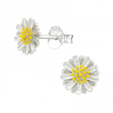 Flower - 925 Sterling Silver Plain Ear Studs A4S39017