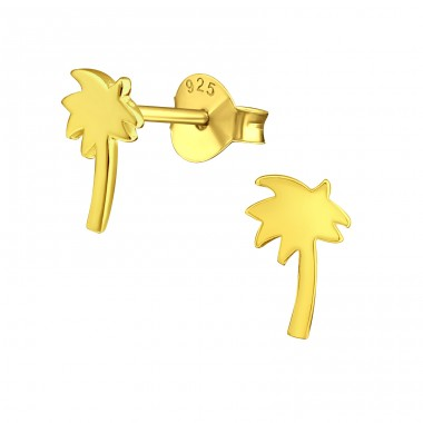 Palm Tree - 925 Sterling Silver Plain Ear Studs A4S39027